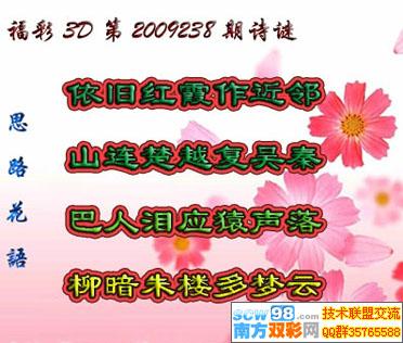 福彩太湖字谜!福彩太湖字谜, 3d208 期太湖字谜 夫人走
